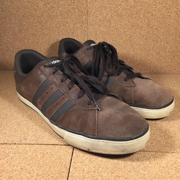 Adidas NEO Brown Suede Leather Stripe Shoes Sz 12